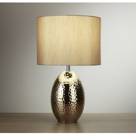 Ceramic Table Lamp In Gold Finish With Faux Silk Shade 4547GO