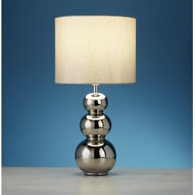 Ceramic Table Lamp With Faux Silk Silver Shade 4426CC