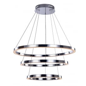 Cerchio Modern LED 3 Ring Ceiling Pendant In Chrome Finish MD15030005-3A