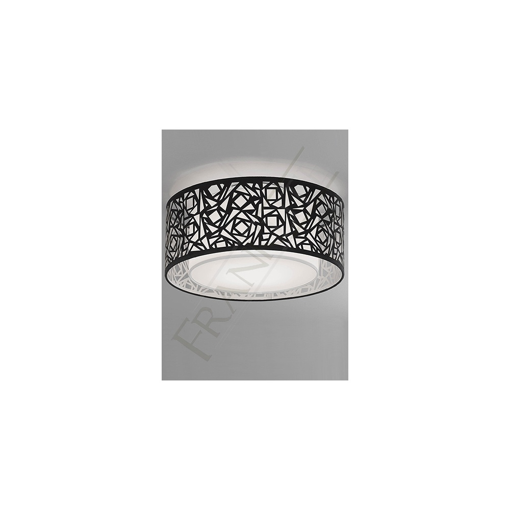 CF5731 Abstract Large Flush Ceiling Light with Black Shade ...