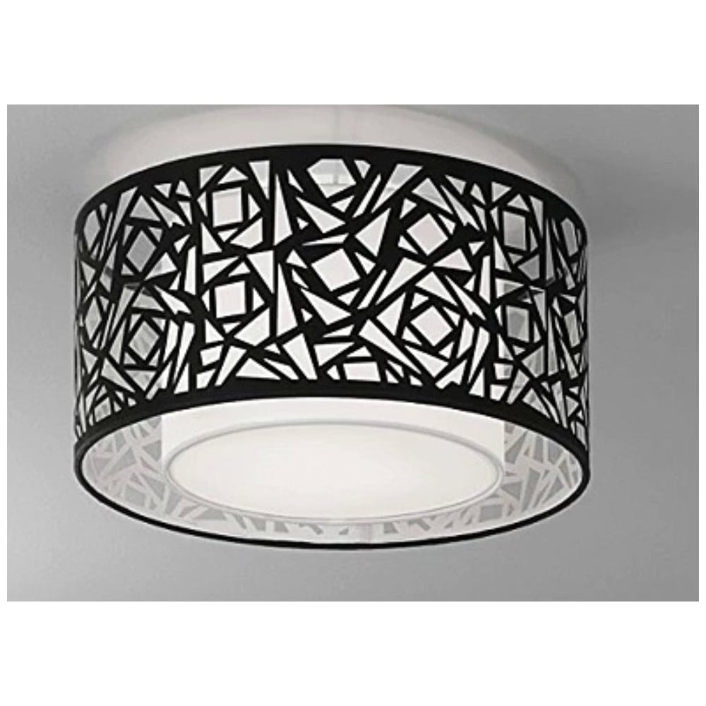 Cf5732 Abstract Small Flush Ceiling Light With Black Shade