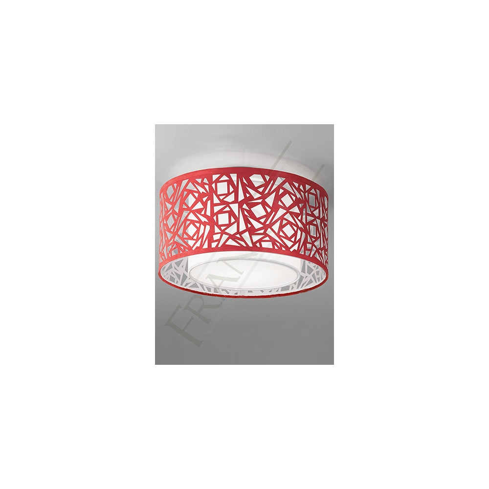 Cf5733 Abstract Small Flush Ceiling Light With Red Shade