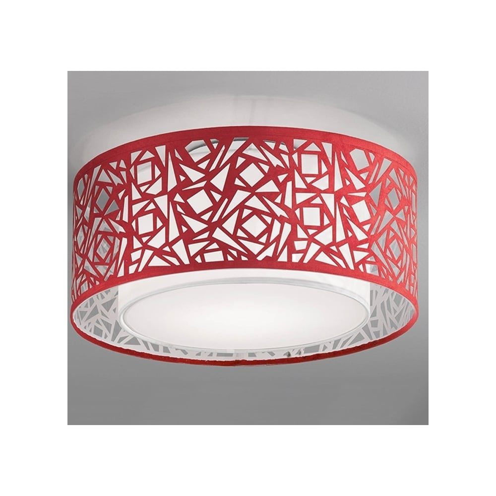 Cf5734 Abstract Large Flush Ceiling Light With Red Shade