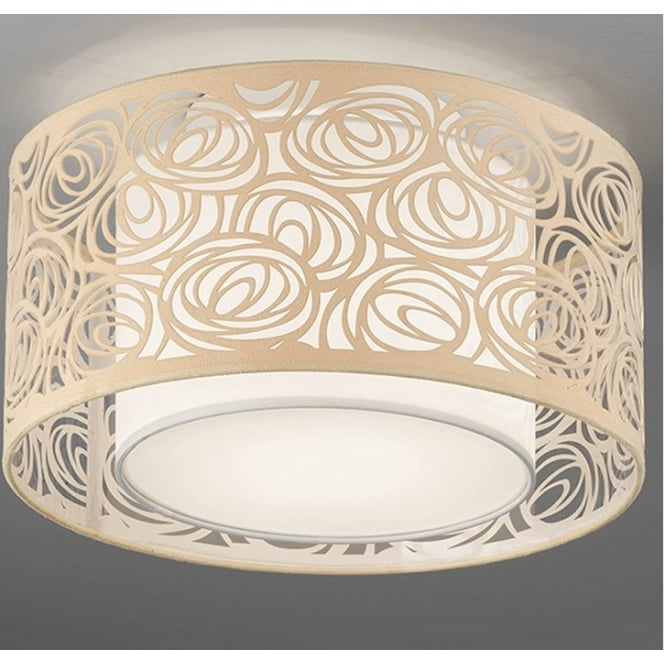 Cf5735 4 Light Small Flush Ceiling Light With Cream Shade