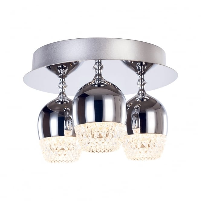 Illuminati Lighting Chalice Modern 3 Light LED Flush Ceiling Fitting In Polished Chrome MD15030009-3ACHR