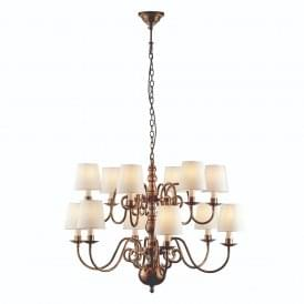 Chamberlain Elegant 12 Light Ceiling Chandelier In Mellow Brass With Marble Shades 74453