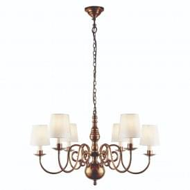 Chamberlain Elegant 6 Light Ceiling Chandelier In Mellow Brass With Marble Shades 74452