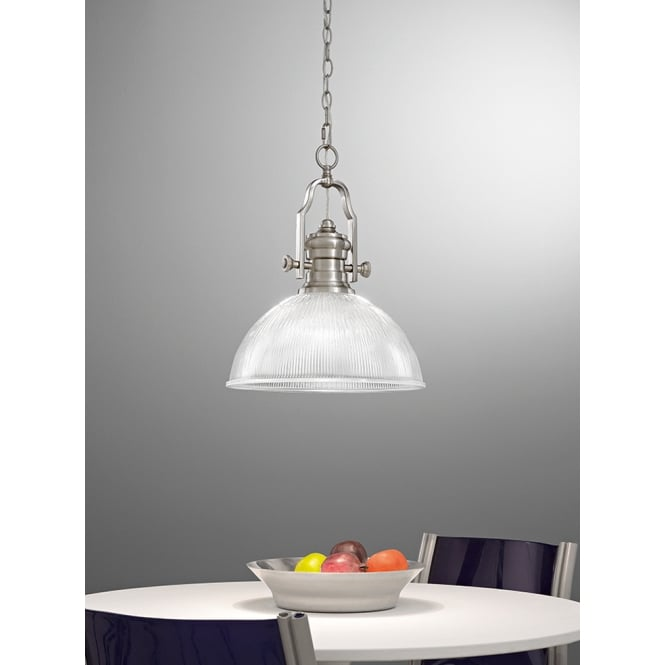 Franklite Lighting Charter Ribbed Glass Ceiling Pendant Light In Satin Nickel Finish PCH112/955