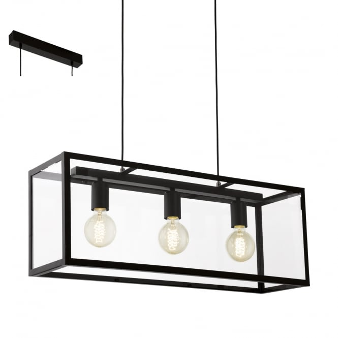 Eglo Lighting Charterhouse Industrial 4 Light Bar Pendant In Black Finish 49393