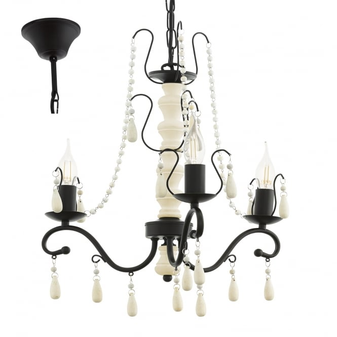 Eglo Lighting Chattisham 3 Light Wooden Chandelier In White And Brown Finish 49837
