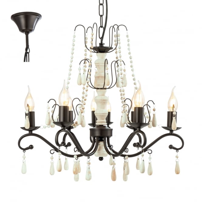Eglo Lighting Chattisham 8 Light Wooden Chandelier In White And Brown Finish 49838