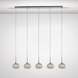 Chelsie 5 Light Ceiling Bar Pendant In Polished Chrome IL31507