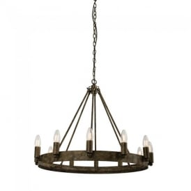 Chevalier 12 Light Aged Metal One Tier Ceiling Pendant Light 61026