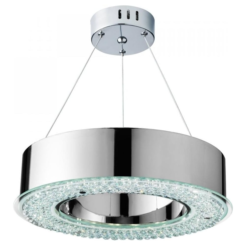 Searchlight Chrome And Glass Led Ceiling Light 4076 48cc Lighting