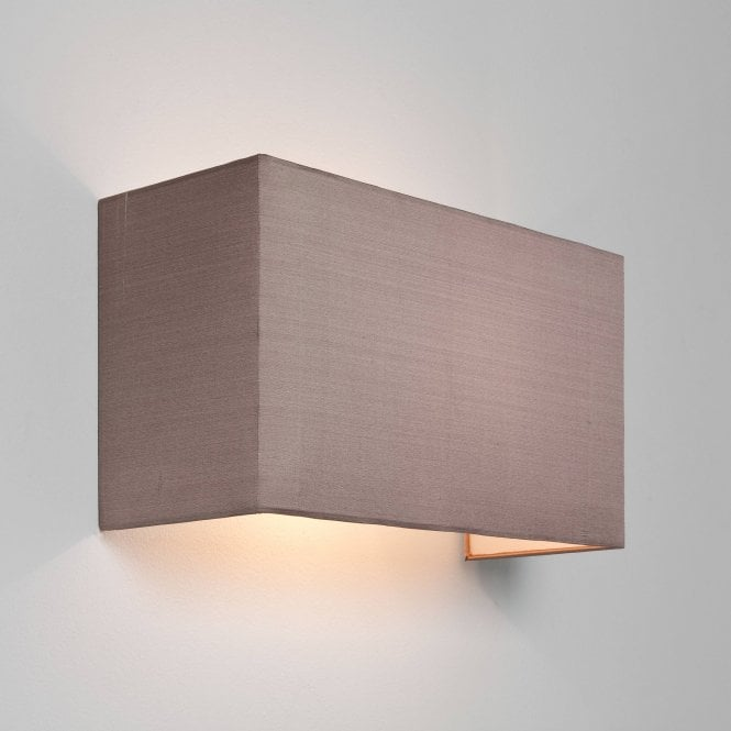 Astro Lighting Chuo Rectangular 190 Modern Wall Light Backplate With Oyster Fabric Shade 4125+7095