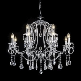 Cinzia 12 Light Crystal Ceiling Pendant Fitting In Chrome Finish FL2330/12