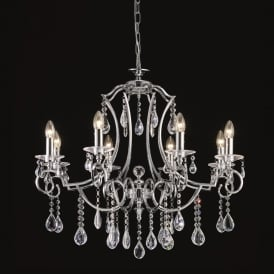 Cinzia 8 Light Crystal Ceiling Pendant Fitting In Chrome Finish FL2330/8