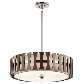 Cirus 4 Light Duo Mount Ceiling Fitting In Auburn Stained Wood Finish KL/CIRUS/4P