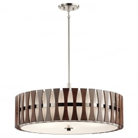 Cirus 5 Light Duo Mount Ceiling Fitting In Auburn Stained Wood Finish KL/CIRUS/5P