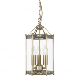 Classic 3 Light Ceiling Lantern In Antique Brass Finish 2273AB