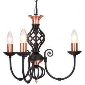 Classic 3 Light Multi Arm Ceiling Light In Black Copper Finish With Barley Twist Detail