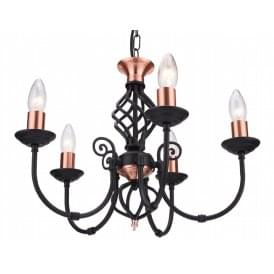 Classic 5 Light Multi Arm Ceiling Light In Black Copper Finish With Barley Twist Detail
