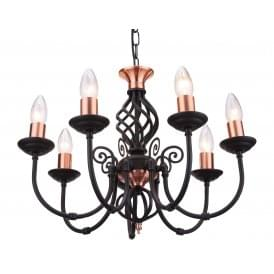 Classic 7 Light Multi Arm Ceiling Light In Black Copper Finish With Barley Twist Detail