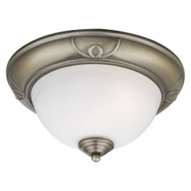 Classic Flush Ceiling Light In Antique Brass Finish With Frosted Glass Shade 2139-28AB