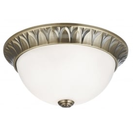 Classic Flush Ceiling Light In Antique Brass Finish With Frosted Glass Shade 4148-28AB