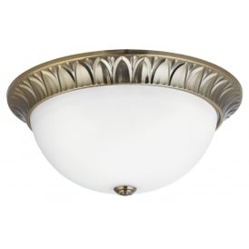 Classic Flush Ceiling Light In Antique Brass Finish With Frosted Glass Shade 4149-38AB
