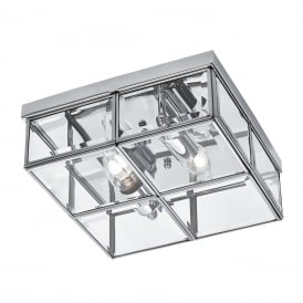 Classic Flush Ceiling Light In Chrome Finish With Bevelled Glass 6769-26CC