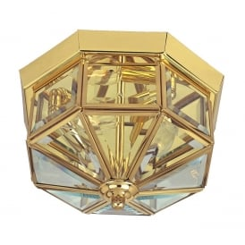 Classic Flush Ceiling Light In Polished Brass Finish With Bevelled Glass Panels