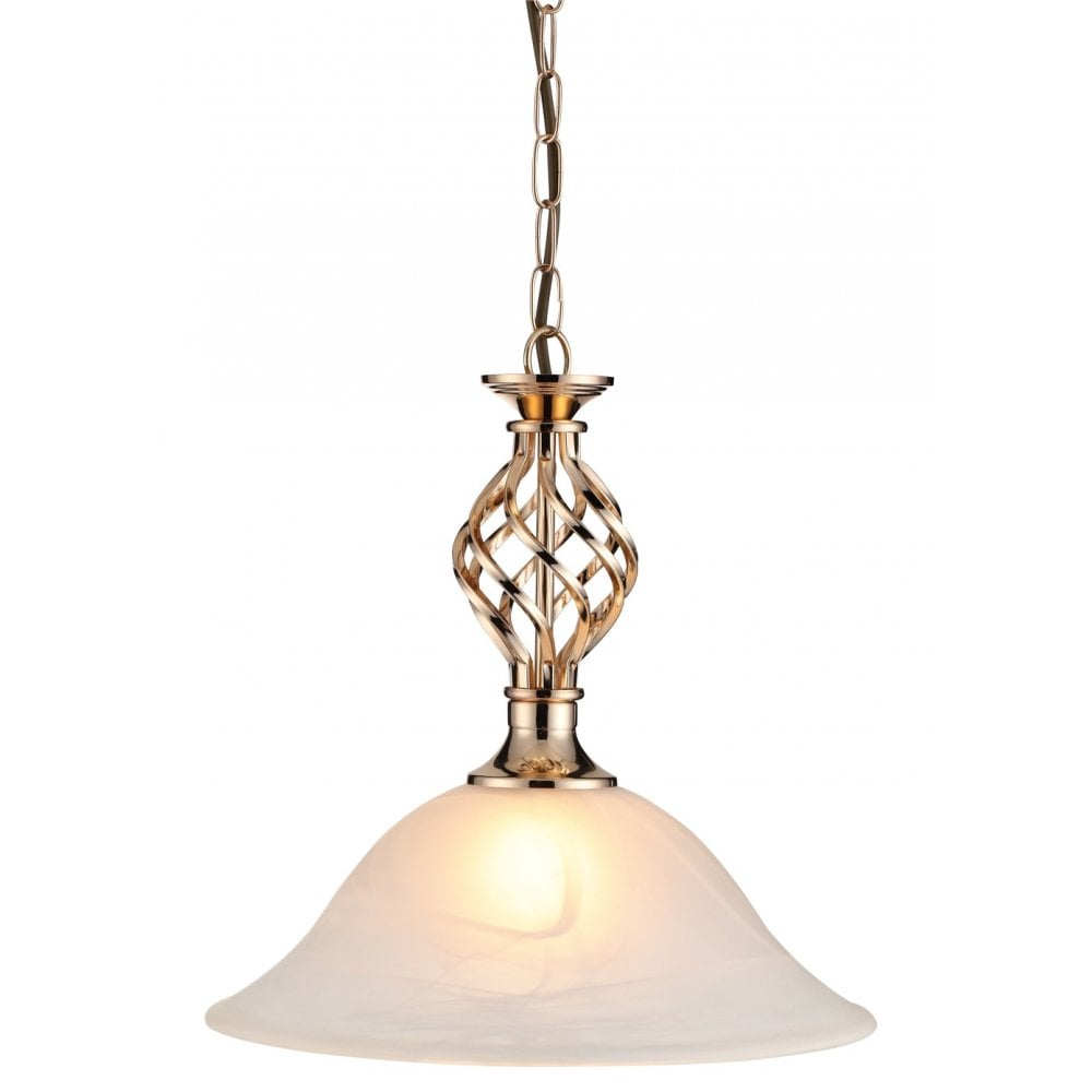 Thlc Classic Single Ceiling Pendant Light In French Gold Finish With Alabaster Style Shade Clapdfg Lighting From The Home Lighting Centre Uk