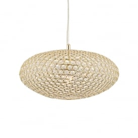 Claudia Crystal Glass Oval Ceiling Pendant Light In Brass Finish 68992