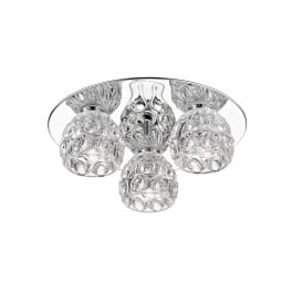 Clea Crystal LED 3 Light Flush Ceiling Fitting In Chrome Finish LED1704/03/PL/CH