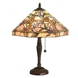 Clematis Tiffany Medium Table Lamp With Pink And Purple Art Glass 64021