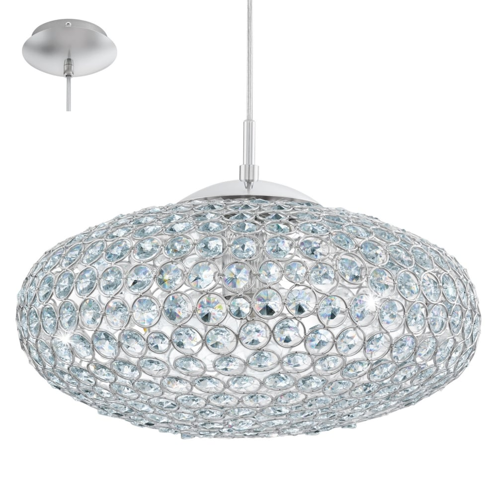 Eglo Lighting Clemente Ceiling Pendant Light In Chrome Finish With Crystal Glass 95286