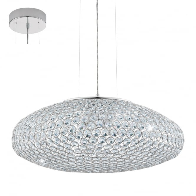 Eglo Lighting Clemente Three Light Ceiling Pendant In Chrome Finish With Crystal Glass 95287
