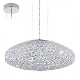 Clemente Three Light Ceiling Pendant In Chrome Finish With Crystal Glass 95287