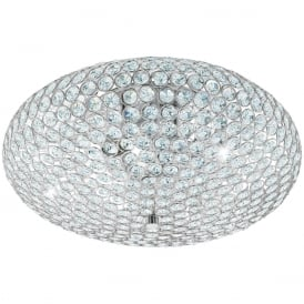Clemente Three Light Flush Ceiling Light In Chrome Finish With Crystal Glass 95285