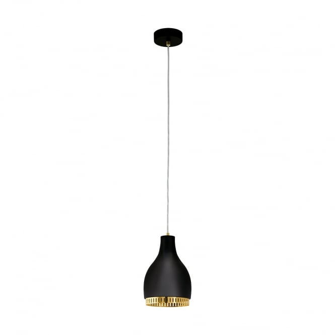 Eglo Lighting Cocno Contemporary Small Ceiling Pendant Light In Black Finish With Gold Detail 96872
