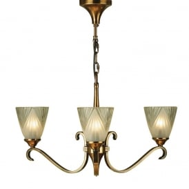 Columbia 3 Light Ceiling Pendant Light in Antique Brass With Deco Glass 63436