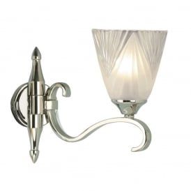 Columbia Single Wall Light in Polished Nickel With Deco Glass 63456