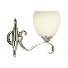 Columbia Single Wall Light in Polished Nickel With Opal Glass 63457