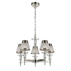 Concept Modern 5 Light Ceiling Pendant In Chrome Finish With Glass Shades FL2379-5