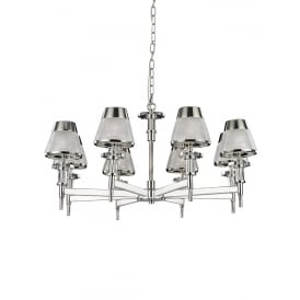 Concept Modern 8 Light Ceiling Pendant In Chrome Finish With Glass Shades FL2379-8