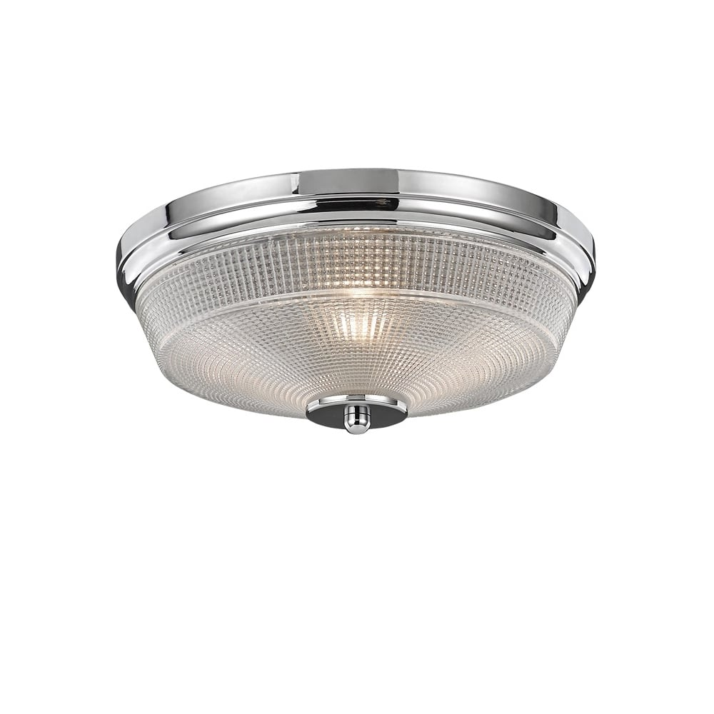 Concept Modern Small Flush Ceiling Light In Chrome Finish With Glass Shade Cf5771
