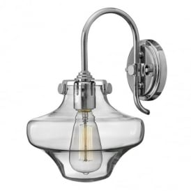 Congress 1 Light Chrome Clear Glass Wall Light with Shaped Shade HK/CONGRES1/B CM