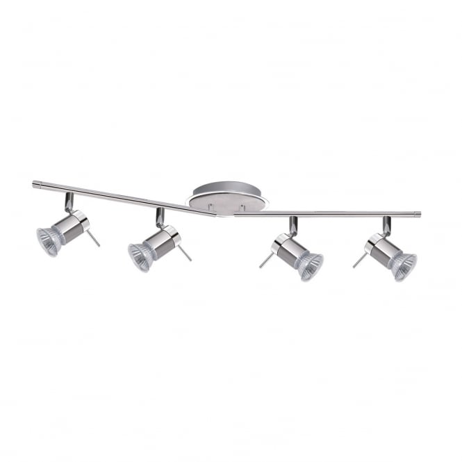 Searchlight Contemporary 4 Light Ceiling Bar Light In Chrome And Satin Silver Finish 7444CC-LED