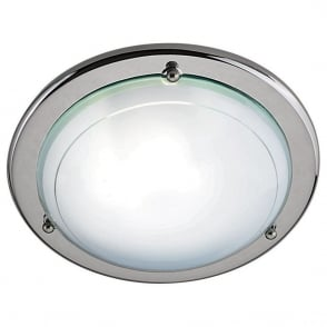 Contemporary Flush Ceiling Light In Chrome Finish With Glass Shade 702CC